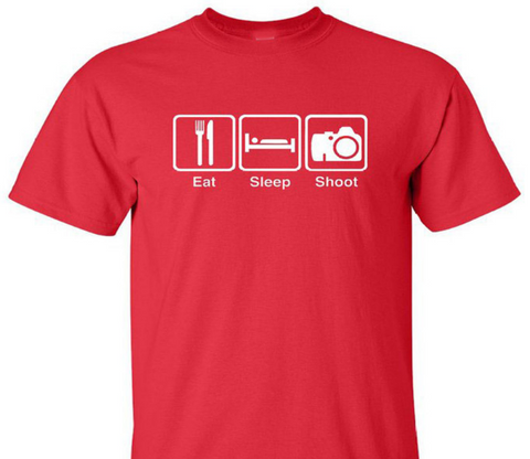 Eat Sleep Shoot Photography T-Shirt - Bullseye Discounts