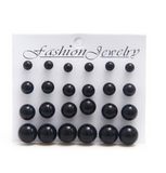 White Black Stud Earrings 6mm/8mm/10mm/12mm - Bullseye Discounts