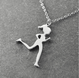 Running Jogging Girl Pendant Necklace - Bullseye Discounts