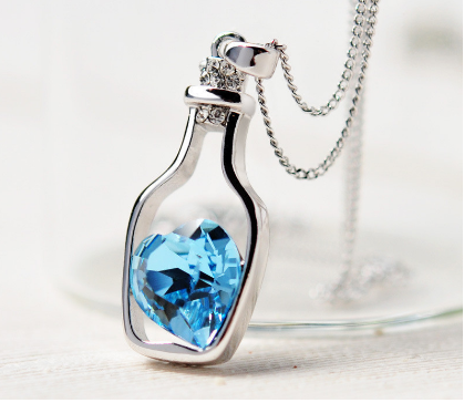 Love Blue Heart Rhinestone Crystal Drift Bottle Pendant Necklace - Bullseye Discounts