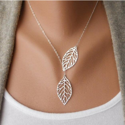 Gold Silver Plated Leaf Chain Necklace - Bullseye Discounts