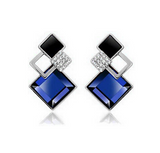 Rhinestone Crystal Square Stud Earrings - Bullseye Discounts