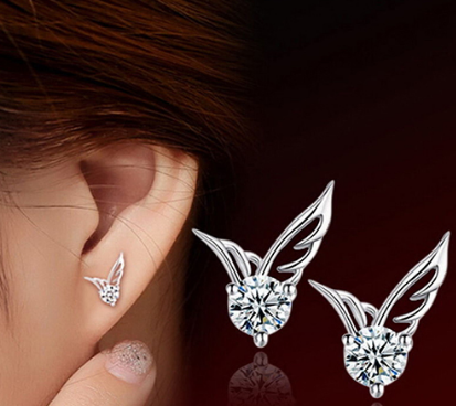 Silver Plated Angel Wings Rhinestone Crystal Stud Earrings - Bullseye Discounts