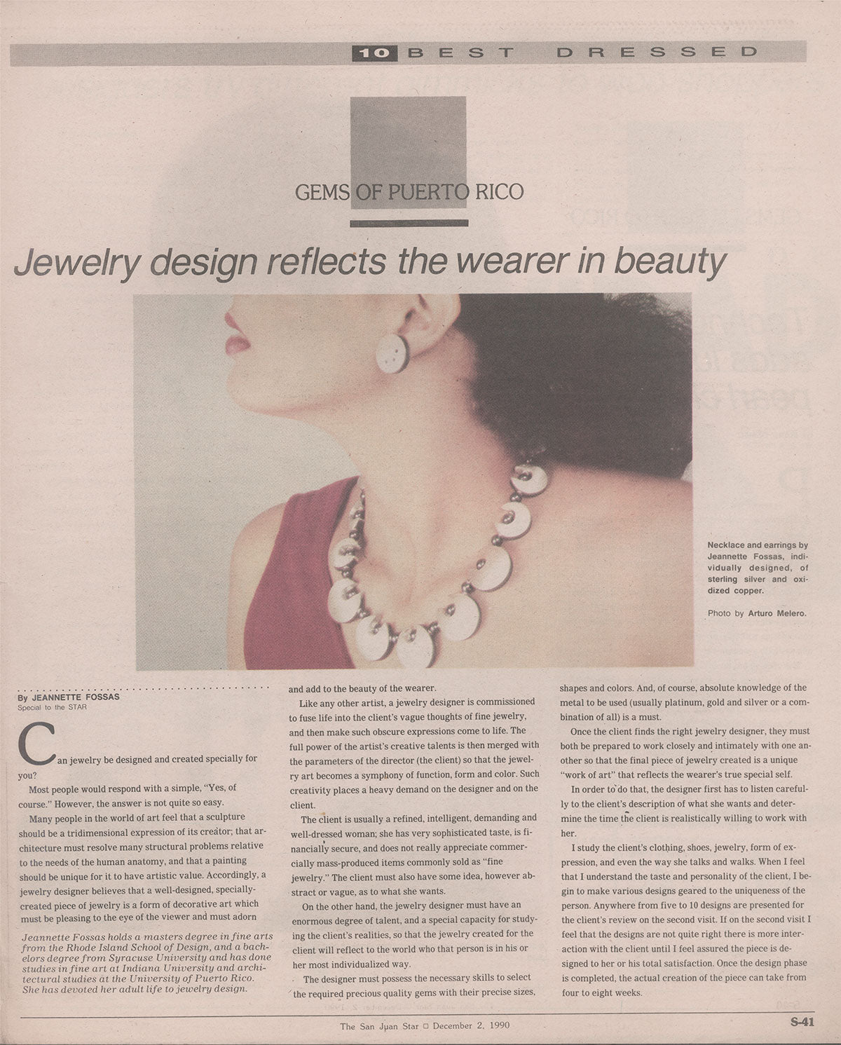 The San Juan Star - Gems of Puerto Rico / Puerto Rico / Jewelry design reflect the wearer in beauty / 1990