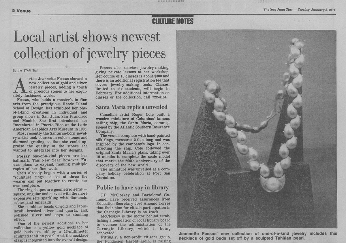 The San Juan Star - Culture Notes / Puerto Rico / Local artist shows newest collection of jewelry pieces / 1994