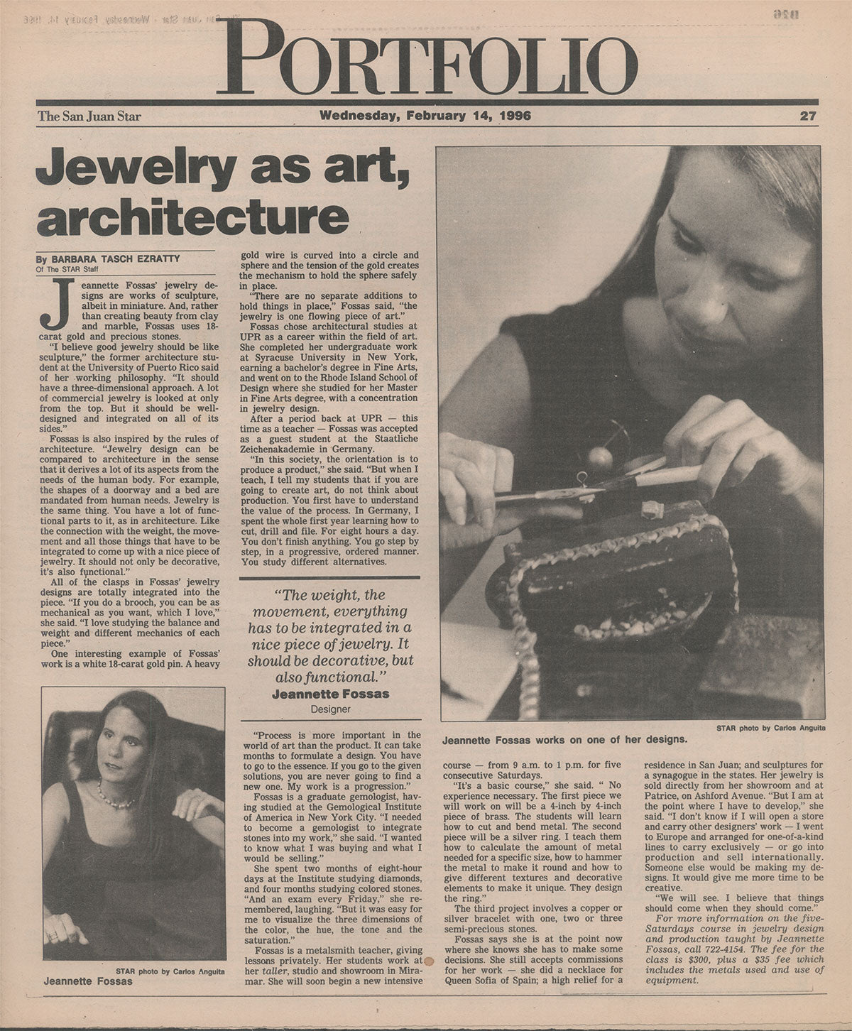 The San Juan Star - Portfolio / Puerto Rico / Jewelry as art, architecture / 1996