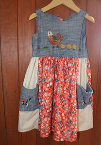 Fancy on the Farm - Open Back Dress - Hen & Chicks Embroidery - 4T - RTS