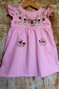 Traditional Oaxacan Dress - Birdies & Floral Detail - Hand Dyed Pink Cotton -