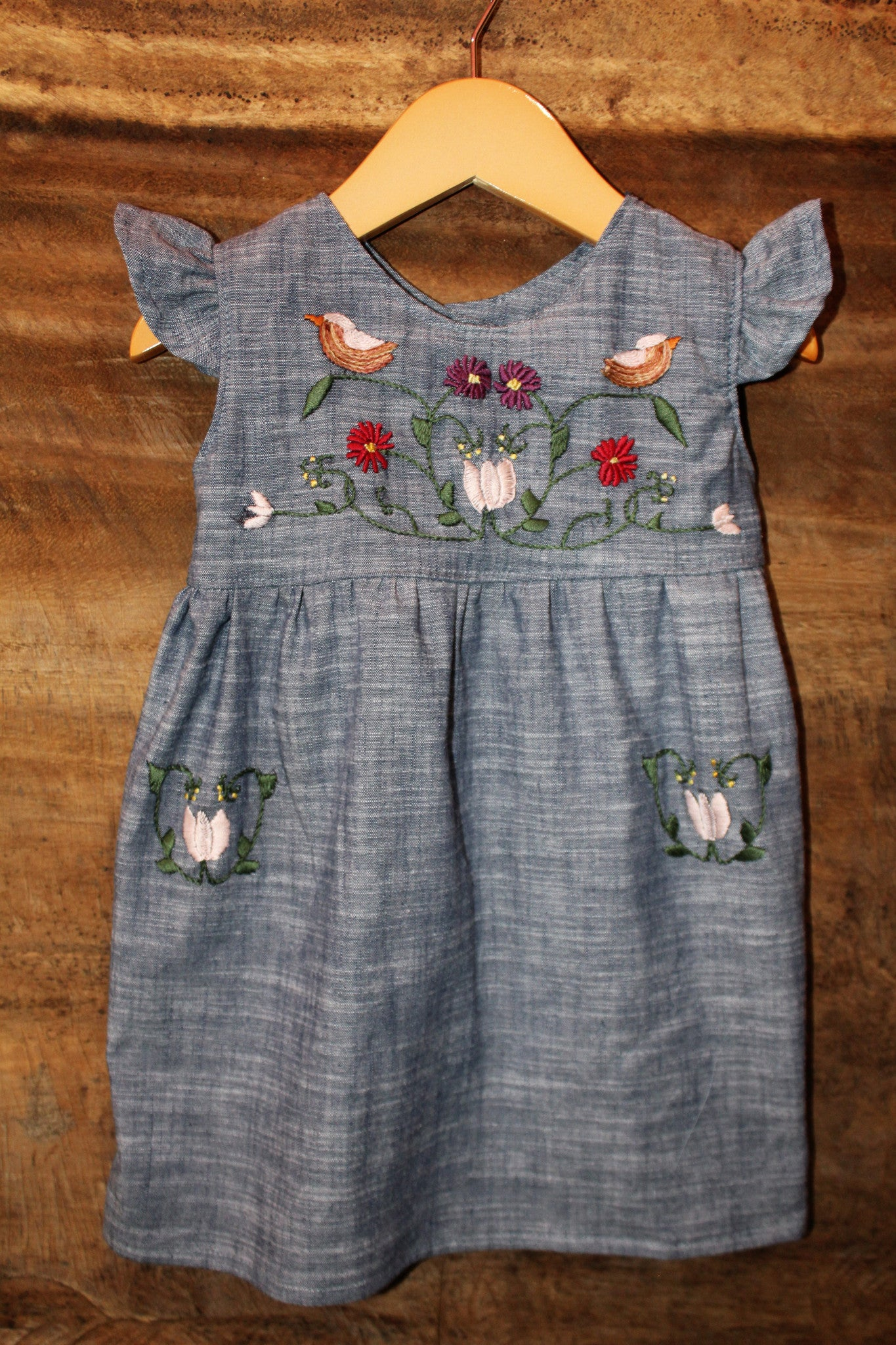 Traditional Oaxaca Tunic - Birdies Detail - Chambray -