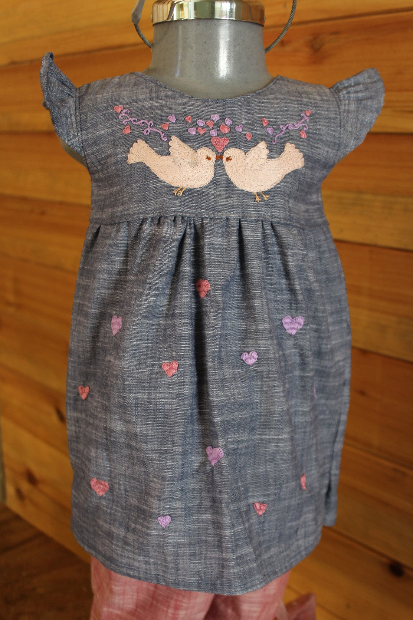 Valentine's Day Dress - Birdies & Hearts on Chambray -