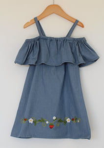 Strawberry Fields Forever - Off the Shoulder Dress - Size 5T - Year End Sale - RTS