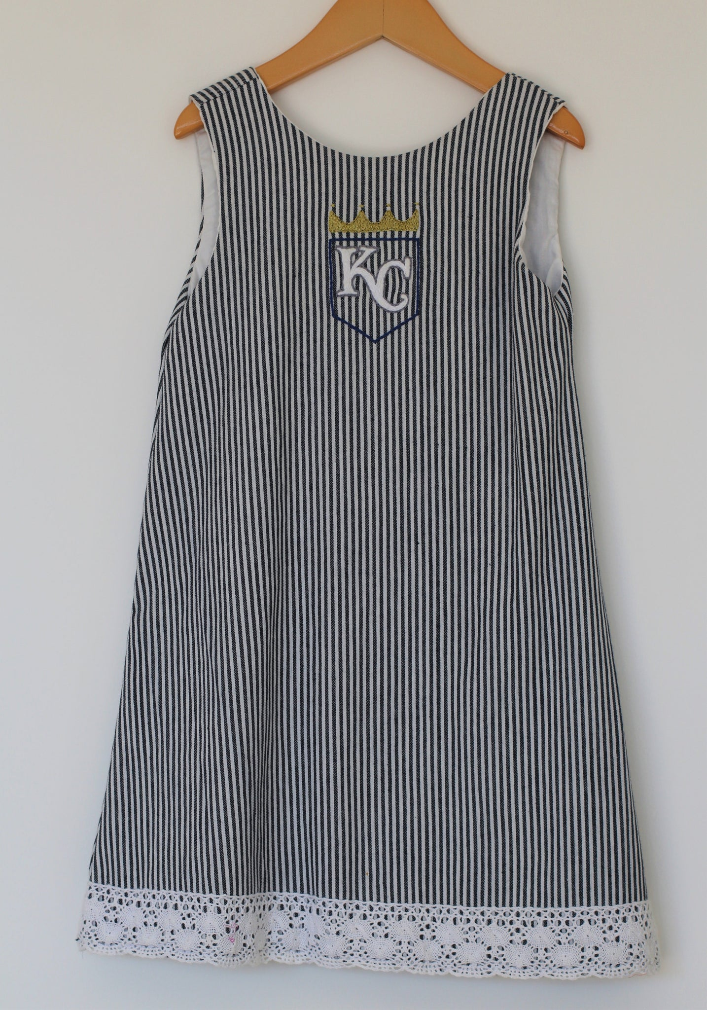 Ballpark Beauties - Royals Dress w/ Red Bow Back - Size 6 - Year End Sale - RTS