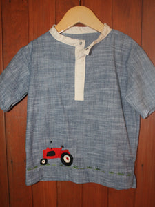 Fancy on the Farm - Boy's Shirt - Tractor Embroidery - Size 5 - RTS