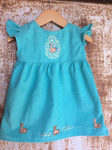 Easter Bunny Tunic on Local Paradise Blue Cotton -Past Easter