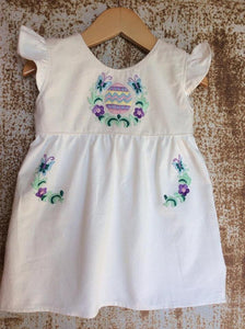 Cream Egg & Butterflies Dress on Local Unbleached Cotton - Past Easter