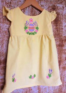 Easter Egg Hunt Dress on Local Yellow Cotton -  Past Easter