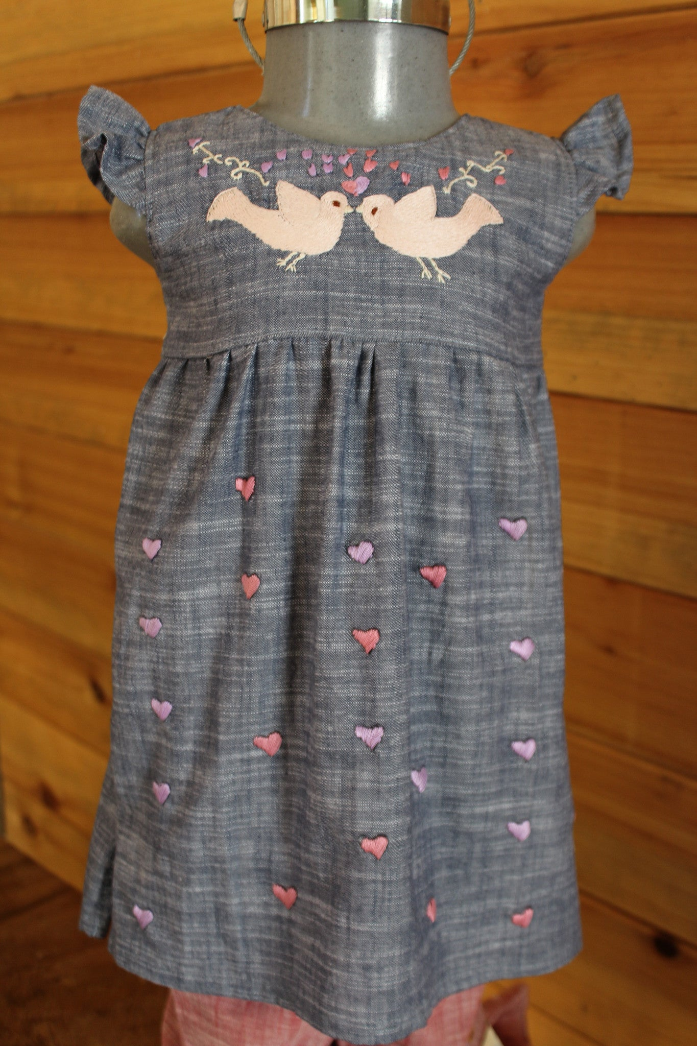 Valentine's Day Dress - Birdies & Hearts on Chambreay -