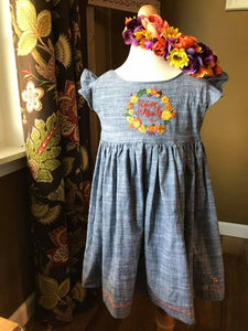 """Give Thanks"" Chambray Dress - RTS"