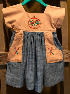 Aztec Pumpkin dress with Pockets - 12-18m