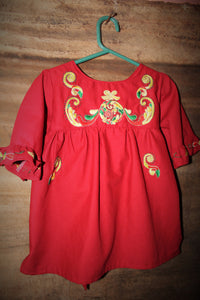 Red Christmas Ornament Dress w/ Sash - Past Winter Release