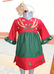 Christmas Dress w/ Sash - Antler Detail - Past Winter Release