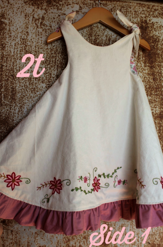 Reversible Dress - Unbleached Cotton & Mauve Floral Print