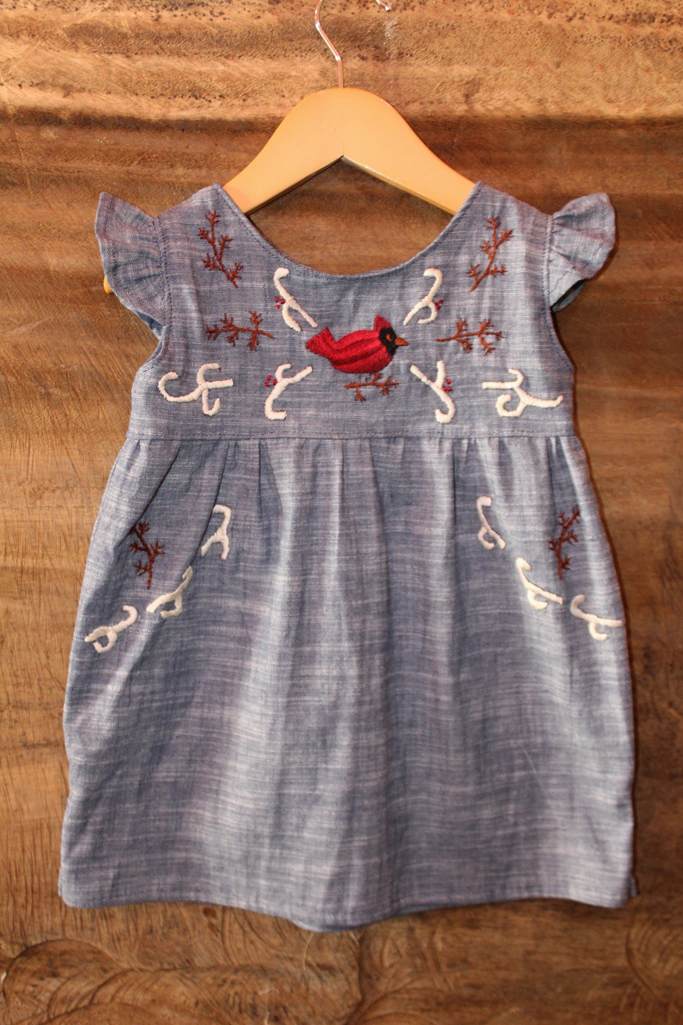 Cardinal Tunic on Chambray - Past Winter Release