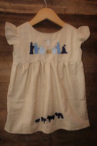 Oaxaca Tunic  - Local Unbleached Cotton - Nativity Detail -Previous Winter Release