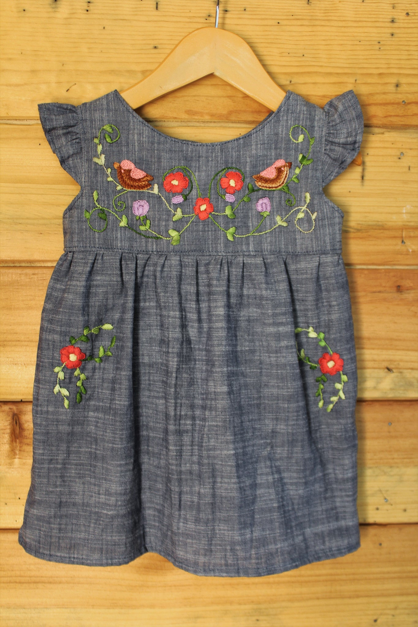 Traditional Oaxacan Tunic - Birdies & Floral Detail - Chambray -