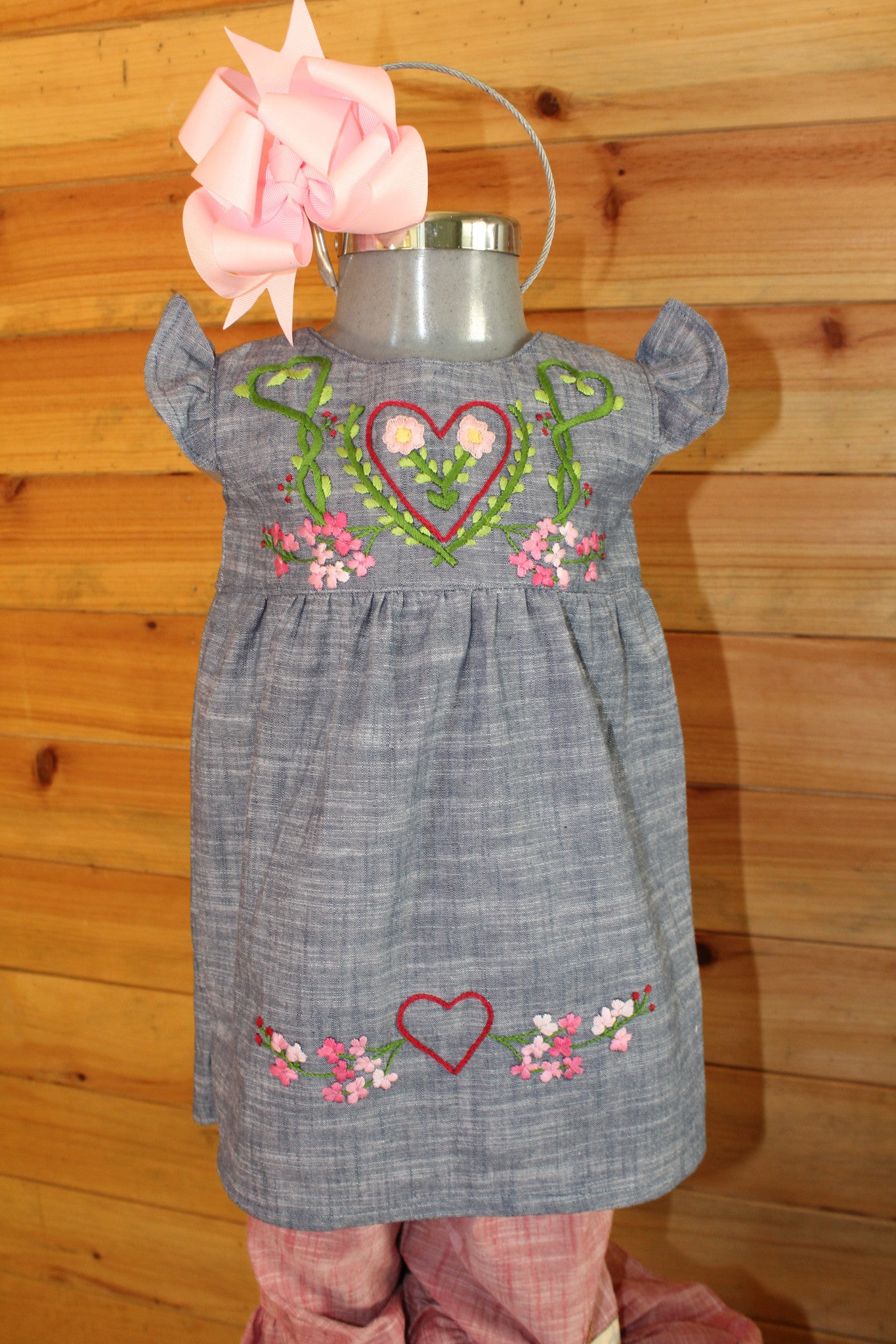 Valentine's Day Tunic - Hearts & Floral Detail on Chambray -