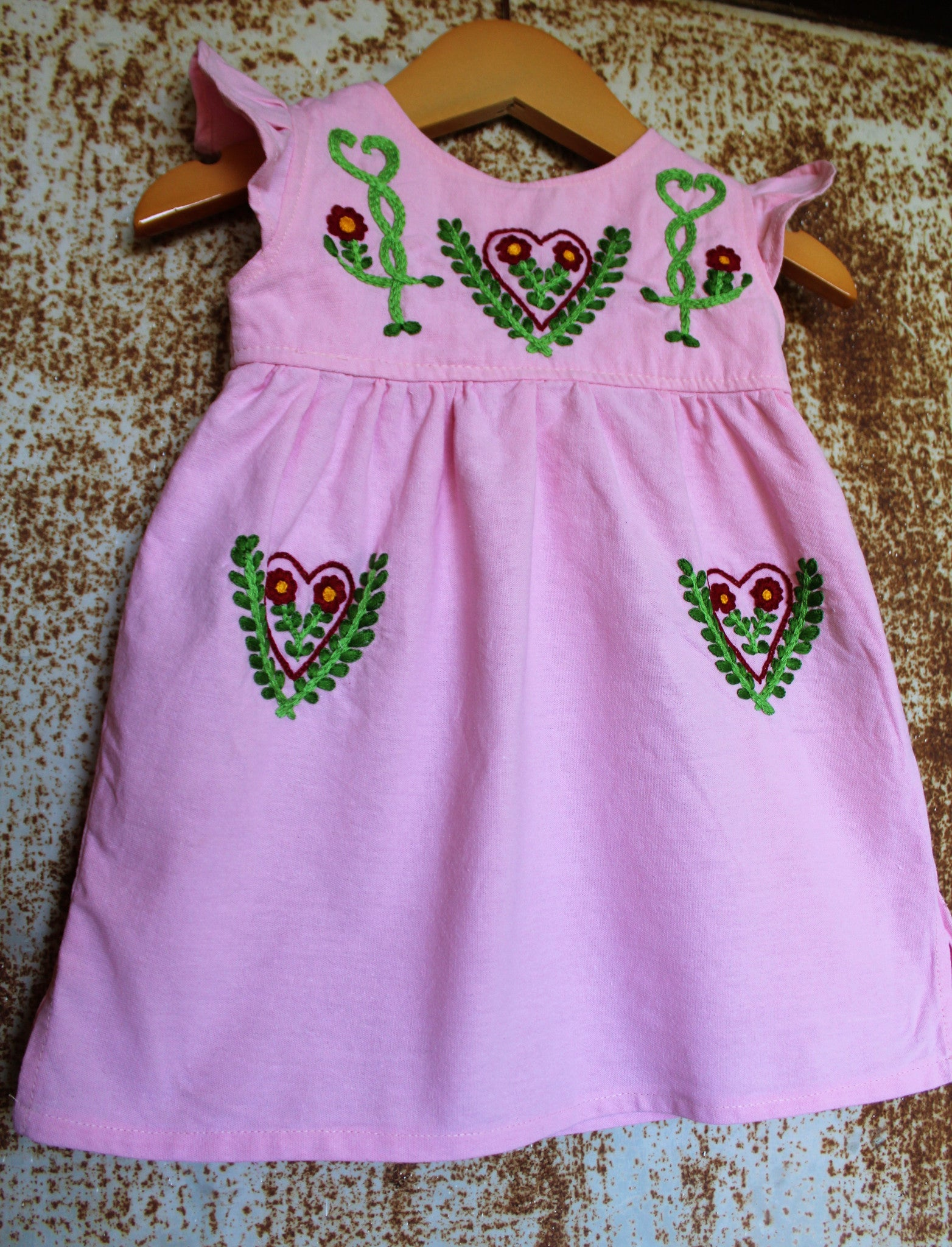 Valentine's Day Tunic - Hand Dyed Pink Cotton - Floral Hearts Detail -