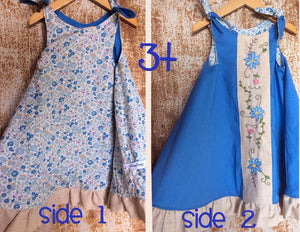Reversible Dress - Blue, Unbleached Cotton & Floral