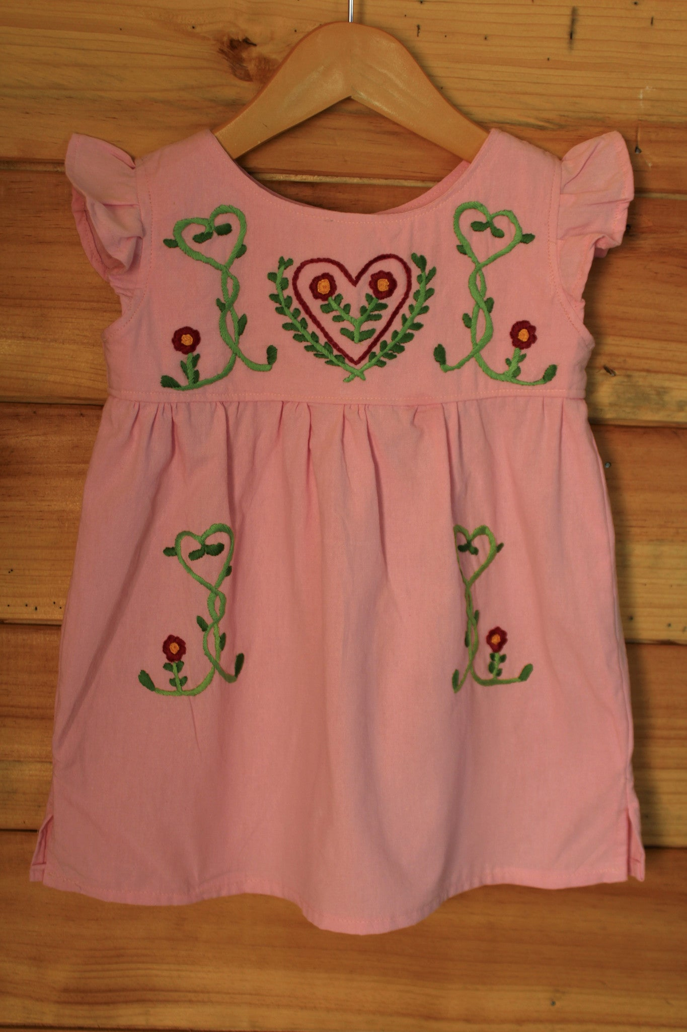 Valentine's Day Tunic - Hearts Detail - Hand Dyed Pink Cotton