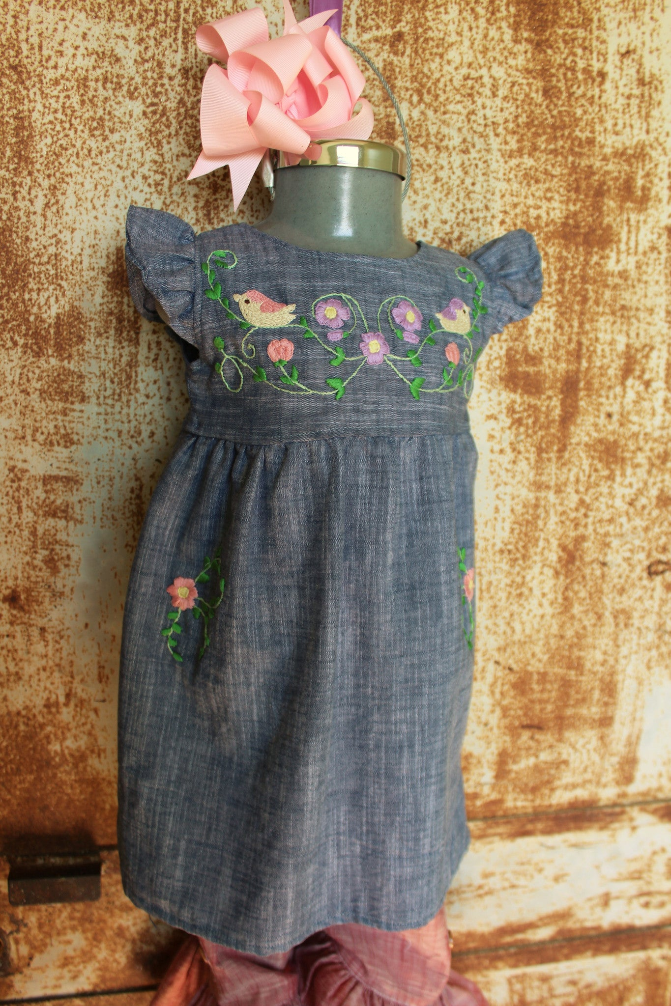 Traditional Oaxacan Tunic - Birdies & Floral on Chambray -