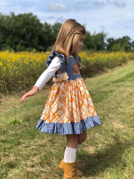 """Pumpkins & Plaid"" - Pinafore Tunic"