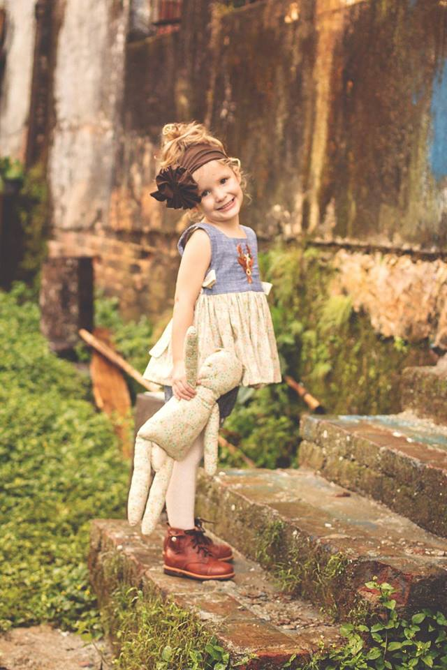 """Fancy Forest Friends"" Pinafore Top (Sizes 0m - 5T)"