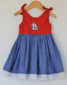 Ballpark Beauties - St. Louis Cardinals - Twirl Dress w/ Pockets - 18-24m - Year End Sale - RTS