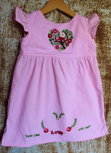 Valentine's Day Tunic - Heart Detail on Hand Dyed Pink Cotton -