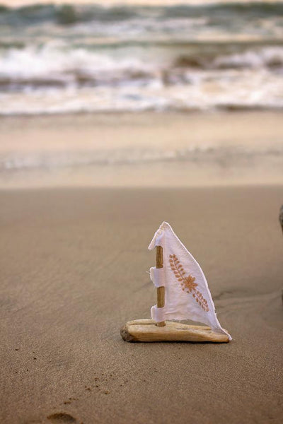 Simply Summer! - Driftwood Sailboat w/ Hand-Embroidered Sail