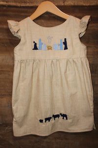 Traditional Oaxacan Tunic - Nativity Detail - Printed Linen -