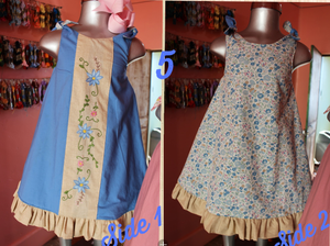 Reversible Dress - Blue & Floral