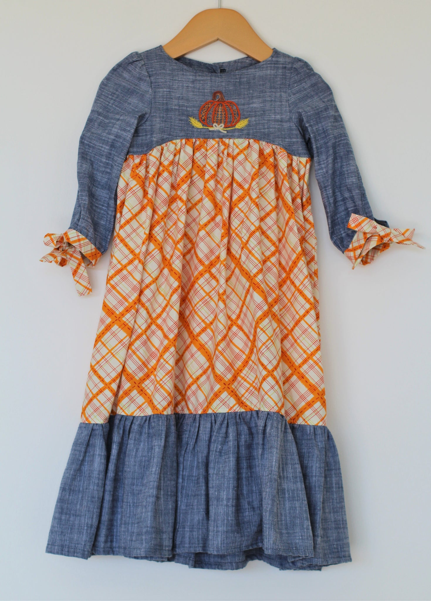 Pumpkins & Plaid Maxi - Size 18-24m - Year End Sale - RTS