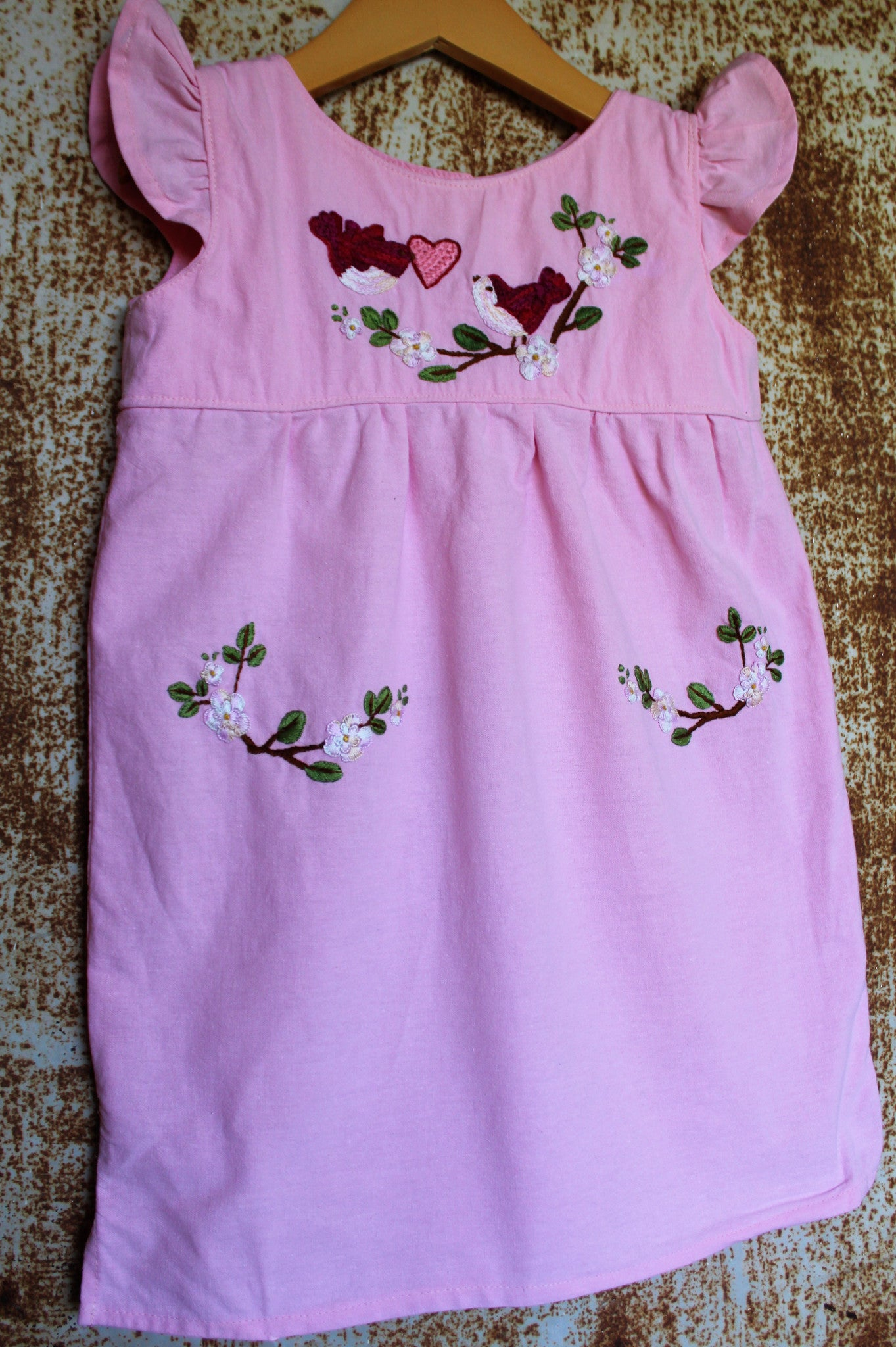 Valentine's Day Dress - Birdies & Heart Detail - Hand Dyed Pink Cotton -