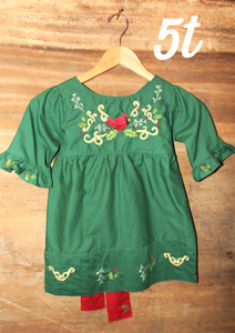Evergreen Top w/ Sash - Cardinal Detail - Past Winter Release