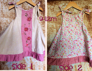 Reversible Dress - Mauve, Unbleached Cotton & Floral