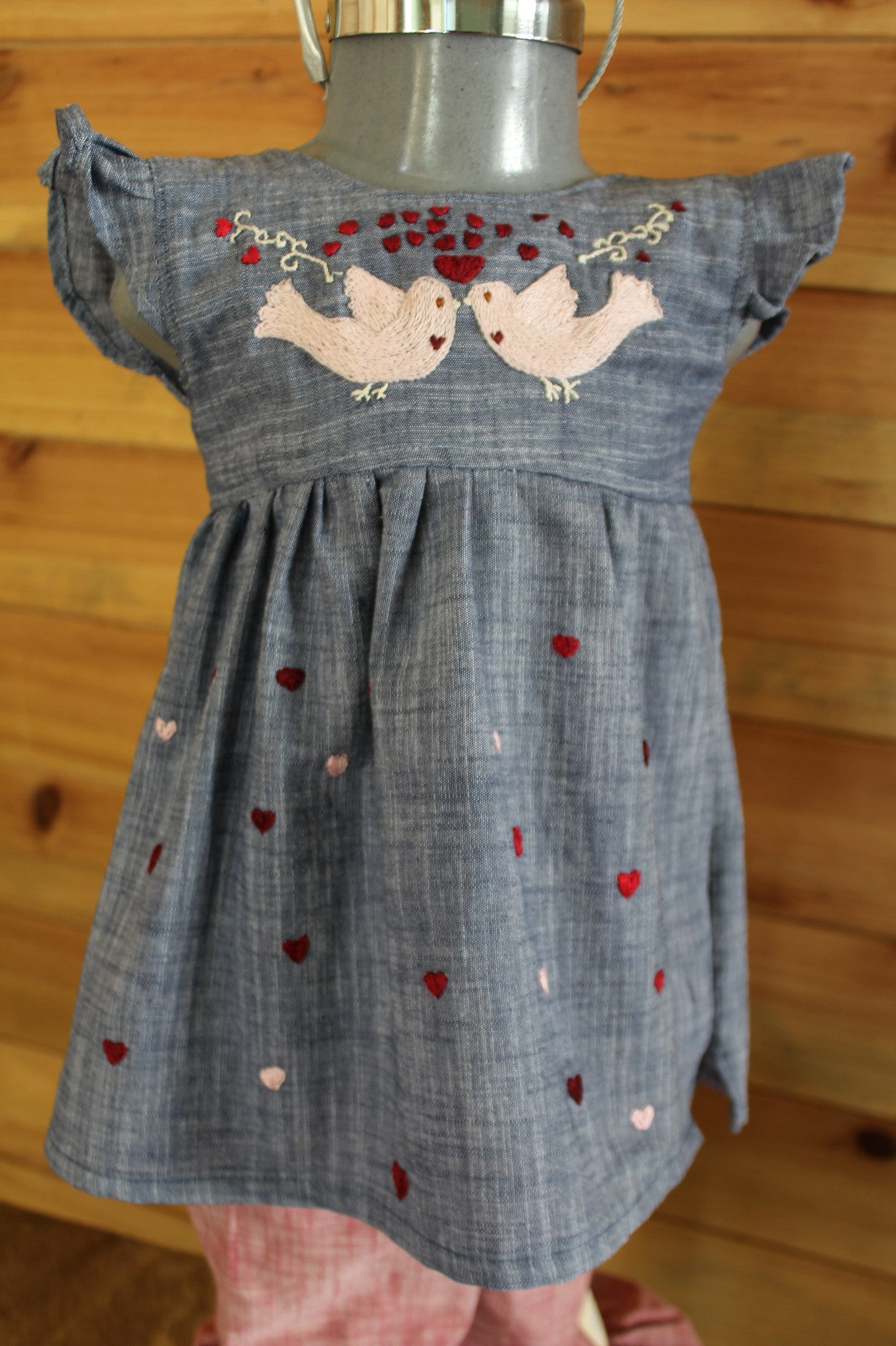 Valentine's Day Tunic - Birdies & Hearts on Chambray -
