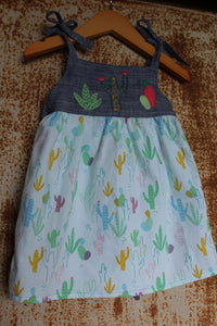 """Aloe From the Other Side"" - Spaghetti Strap w/ Sash on Cactus Print - Size 6-9m"