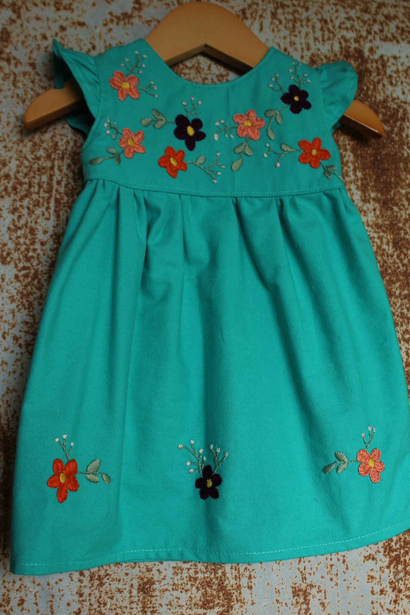 Traditional Oaxacan - Orange & Coral Flowers - Size 6-9m