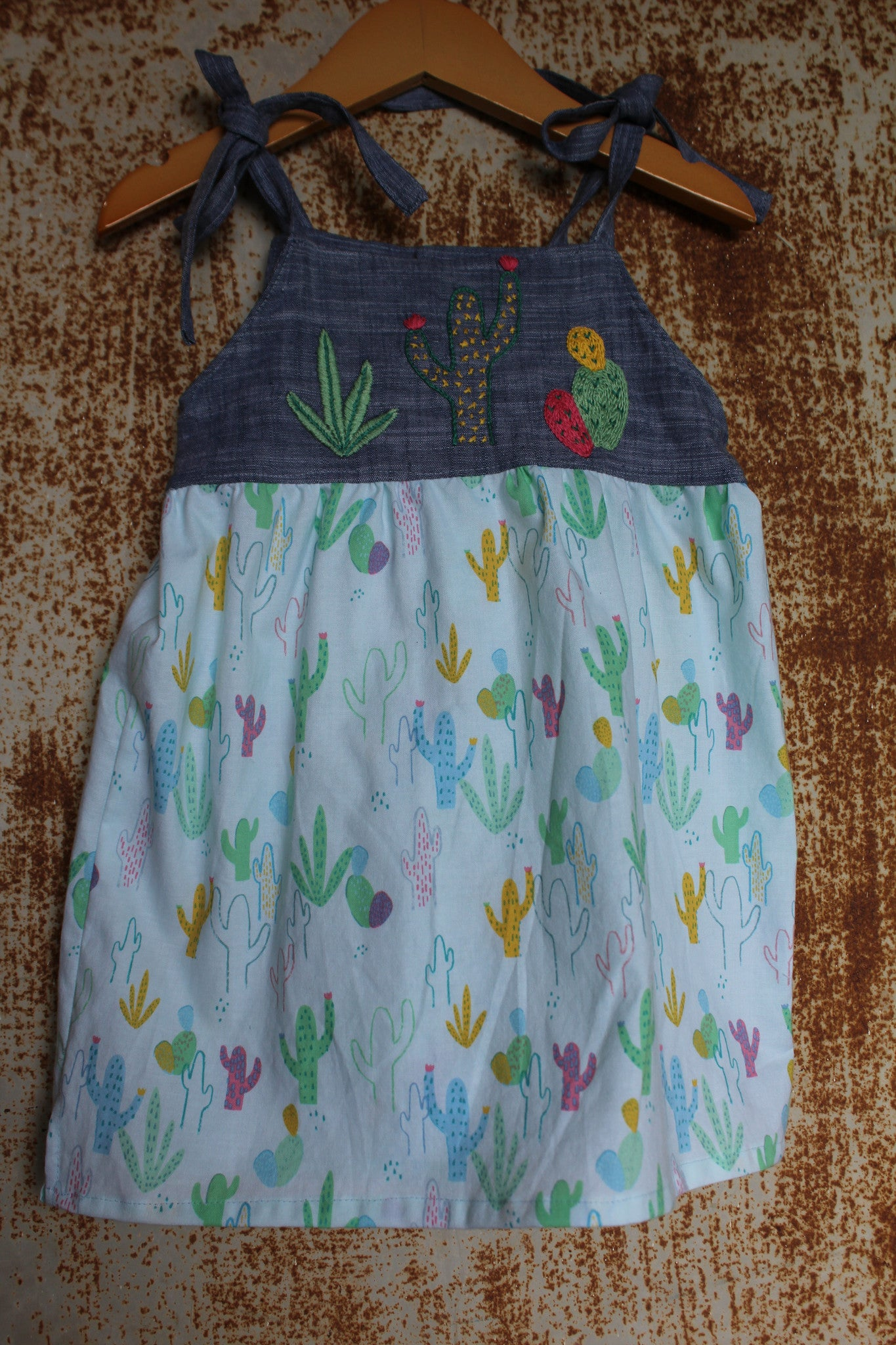 """Aloe From the Other Side"" - Spaghetti Strap w/ Sash on Cactus Print - Size 12-18m"