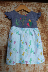 """Aloe From the Other Side"" - Cactus on Chambray w/ Sash - Size 12-18m"